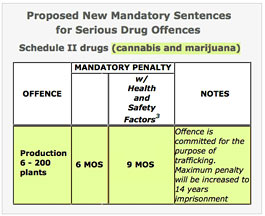 Bill S-10 proposed sentencing chart